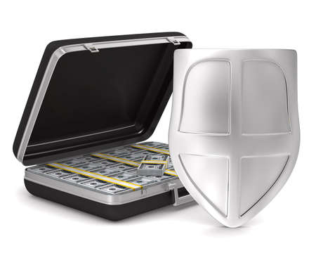 buckler: Case with money on white background. isolated  3D image