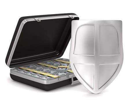 Case with money on white background. isolated  3D image Stock Photo - 12583257