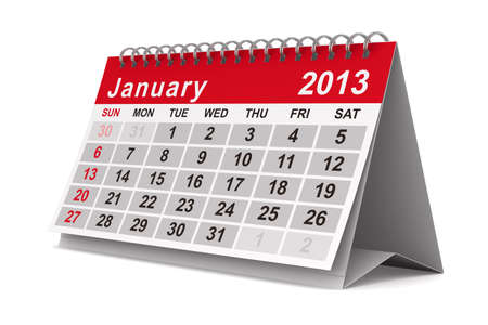 2013 year calendar. January. Isolated 3D image Foto de archivo