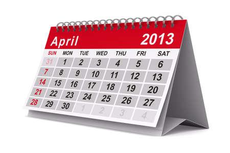 2013 year calendar. April. Isolated 3D image Foto de archivo