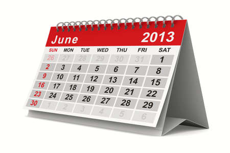 2013 year calendar. June. Isolated 3D image photo