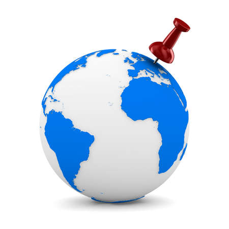 Red thumbtack on globe. Isolated 3D image