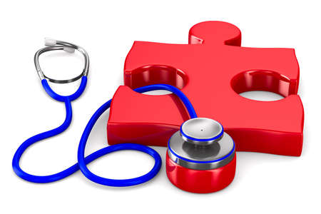Stethoscope and puzzle on white background. Isolated 3D image photo