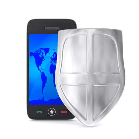 phone and shield on white background. Isolated 3D image photo