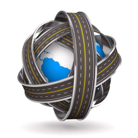 Roads round globe on white background. Isolated 3D image 스톡 콘텐츠