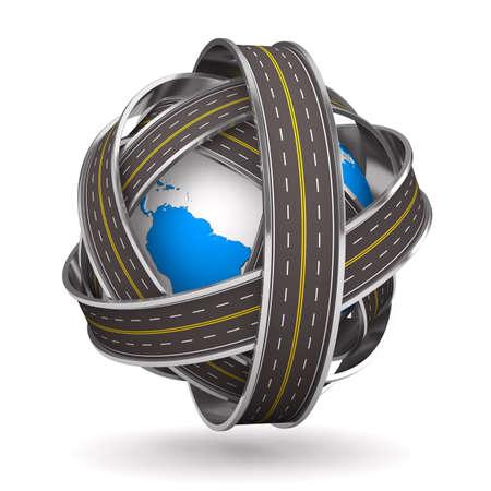 Roads round globe on white background. Isolated 3D image Standard-Bild
