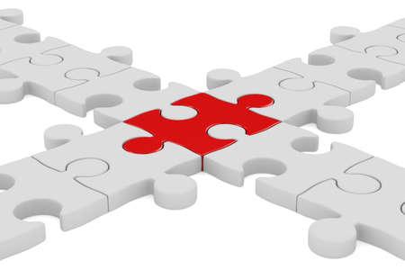 Puzzel op een witte achtergrond. Geà ¯ soleerde 3D beeld Stockfoto