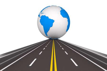 道路の白い背景で地球をラウンドします。分離の 3 D イメージ 写真素材
