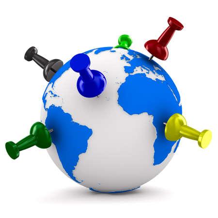 thumbtacked: multicolor thumbtacks on globe. Isolated 3D image Stock Photo