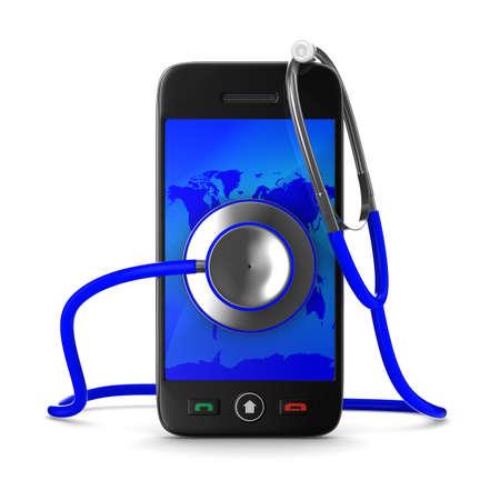 Service de téléphonie sur fond blanc. Isolated 3D image Banque d'images - 12963959