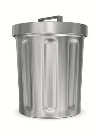 worthless: Garbage basket on white background. Isolated 3D image