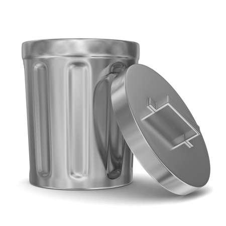 worthless: Garbage basket on white background. Isolated 3D image