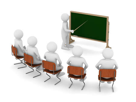 leraar met wijzer bij bord. Geà ¯ soleerde 3D beeld Stockfoto