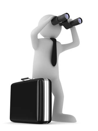 case studies: man with binocular on white background. Isolated 3d image