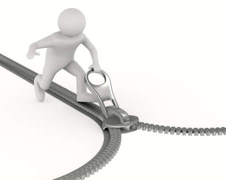 Zipper and man on white background. Isolated 3D image 스톡 콘텐츠
