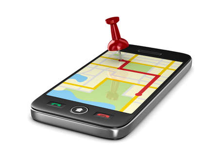 Navigation in phone. Isolated 3D image 스톡 콘텐츠