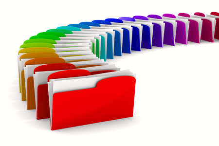 portfolio: multicolor computer folder on white background. Isolated 3d image