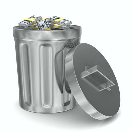 Garbage basket with dollars on white background. Isolated 3D image photo
