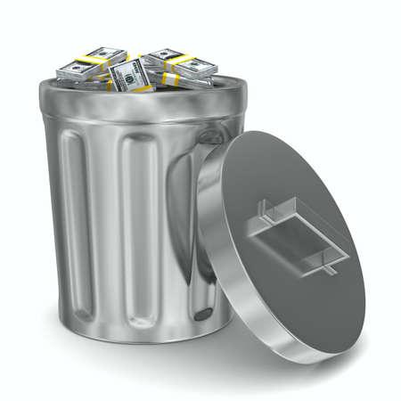 waste money: Garbage basket with dollars on white background. Isolated 3D image