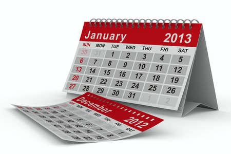 2013 jaar kalender. Januari. Geà ¯ soleerde 3D beeld Stockfoto - 13172537