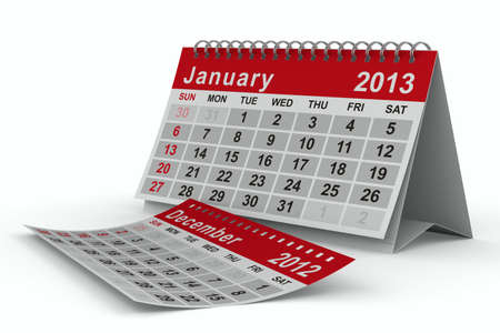 2013 year calendar. January. Isolated 3D image photo