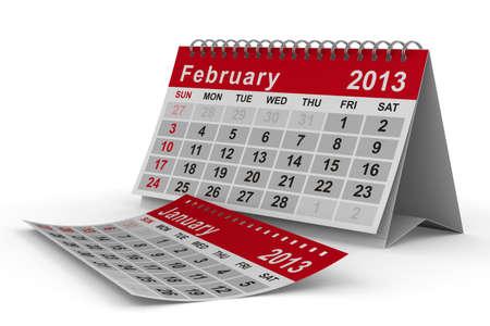 2013 year calendar. February. Isolated 3D image photo