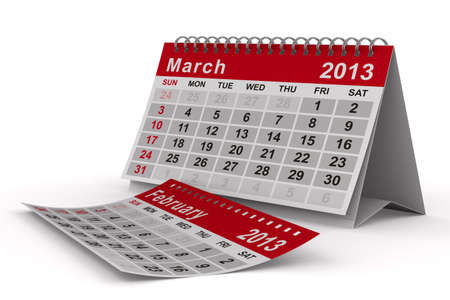 2013 year calendar. March. Isolated 3D image photo