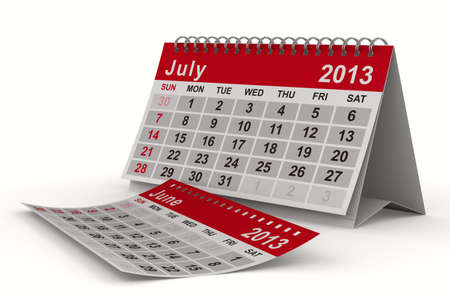 2013 year calendar. July. Isolated 3D image photo