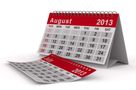 2013 year calendar. August. Isolated 3D image photo