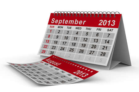 2013 year calendar. September. Isolated 3D image photo