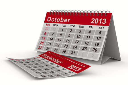 2013 year calendar. October. Isolated 3D image photo