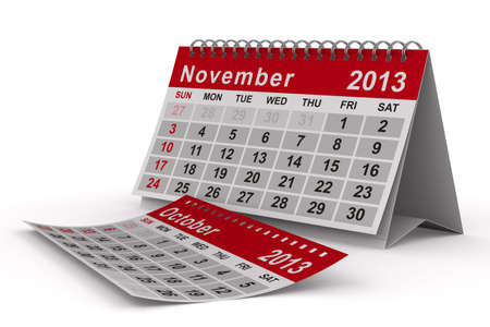 2013 year calendar. November. Isolated 3D image photo