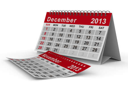 2013 year calendar. December. Isolated 3D image photo