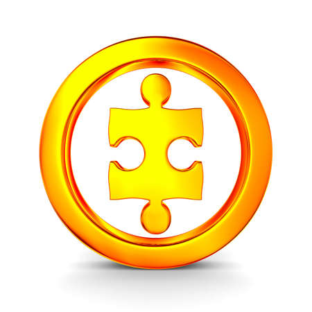 3d circle: Puzzle into circle on white background. Isolated 3D image Stock Photo
