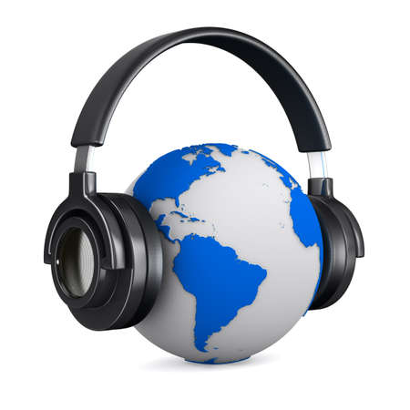 Headphone and globe on white background. Isolated 3D image  photo