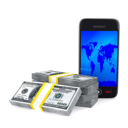 phone and cash on white background. Isolated 3D image photo