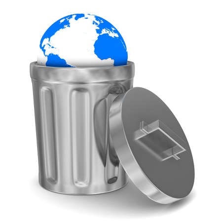 worthless: globe into garbage basket on white background. Isolated 3D image