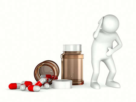 drugstore: patient on white background. Isolated 3D image