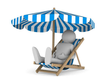 Deckchair and parasol on white background. Isolated 3D image photo