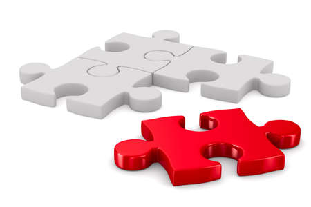 merge together: Puzzle on white background. Isolated 3D image