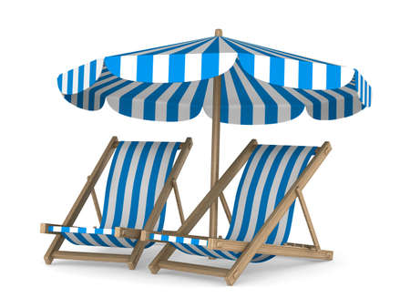 Two deckchair and parasol on white background. Isolated 3D image 스톡 콘텐츠