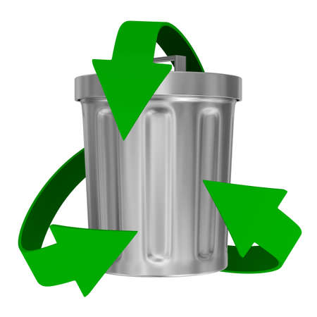 recycling arrows and garbage basket. Isolated 3d image photo