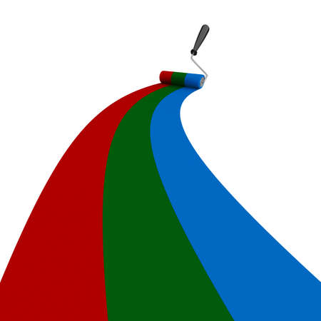 dividing: RGB drawn roller brush on the white  Isolated 3D image Stock Photo