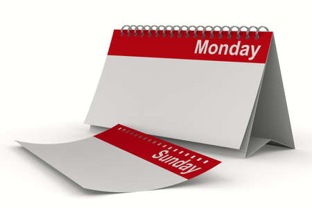 monday: Calendar for monday on white background  Isolated 3D image