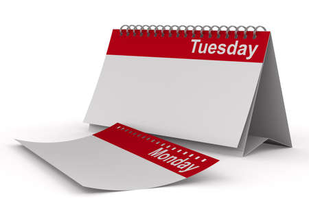 tuesday: Calendar for tuesday on white background  Isolated 3D image