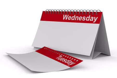 wednesday: Calendar for wednesday on white background  Isolated 3D image