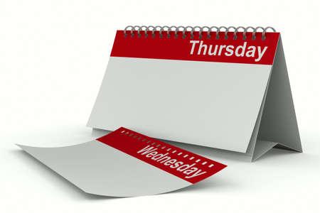 thursday: Calendar for thursday on white background  Isolated 3D image