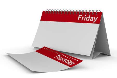 thursday: Calendar for friday on white background  Isolated 3D image Stock Photo