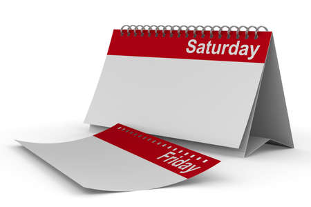 saturday: Calendar for saturday on white background  Isolated 3D image
