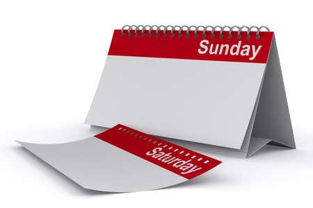 sunday: Calendar for sunday on white background  Isolated 3D image